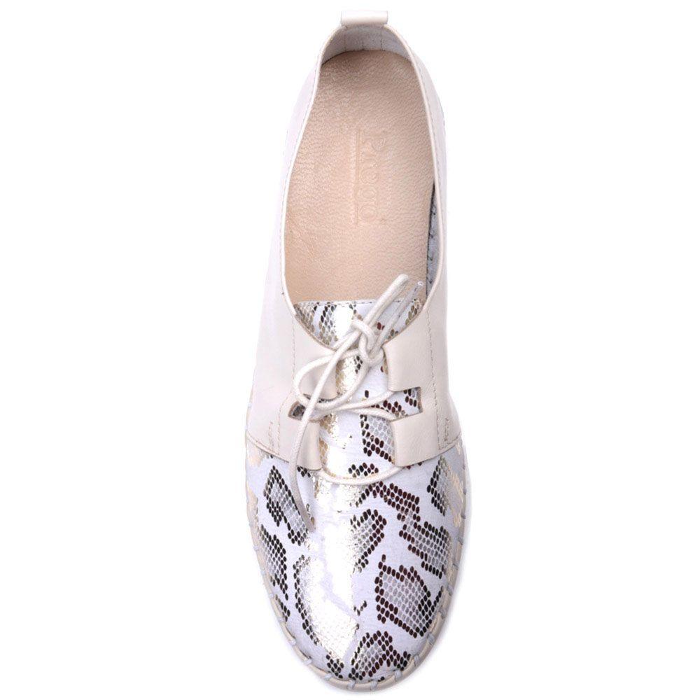 Туфли Prego из кожи бежевого цвета с блестящим принтованным носочком