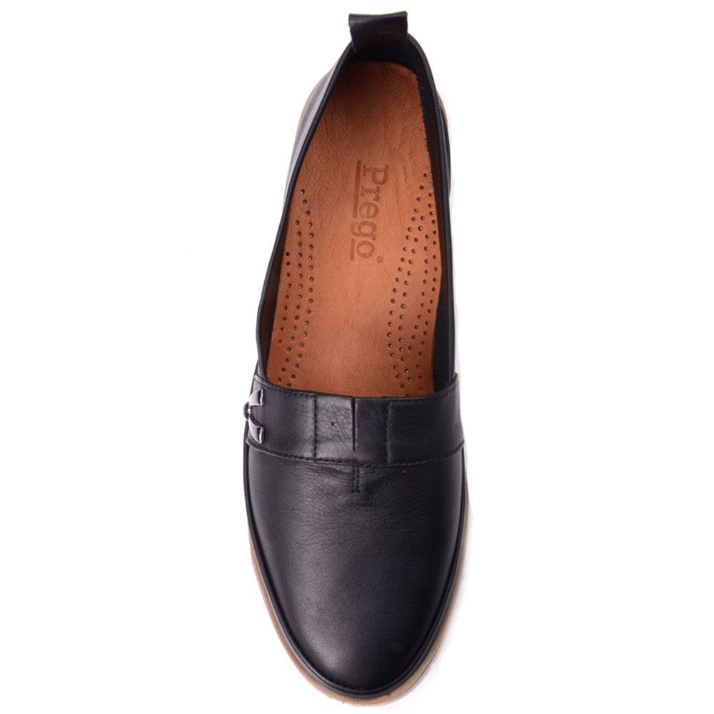 Слиперы Prego из натуральной кожи черного цвета с коричневой полоской вдоль белой подошвы
