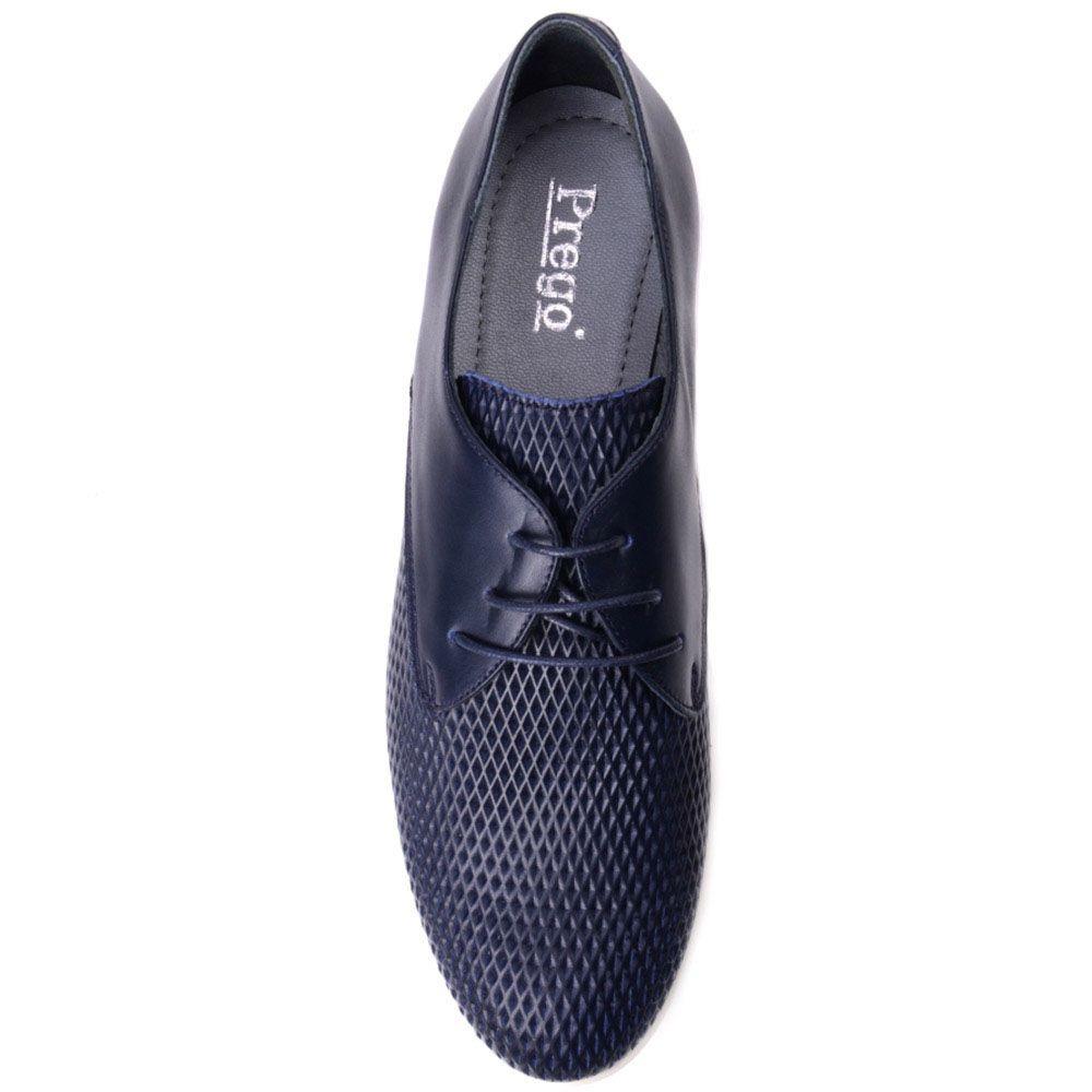 Кожаные туфли Prego синего цвета с рельефным тиснением