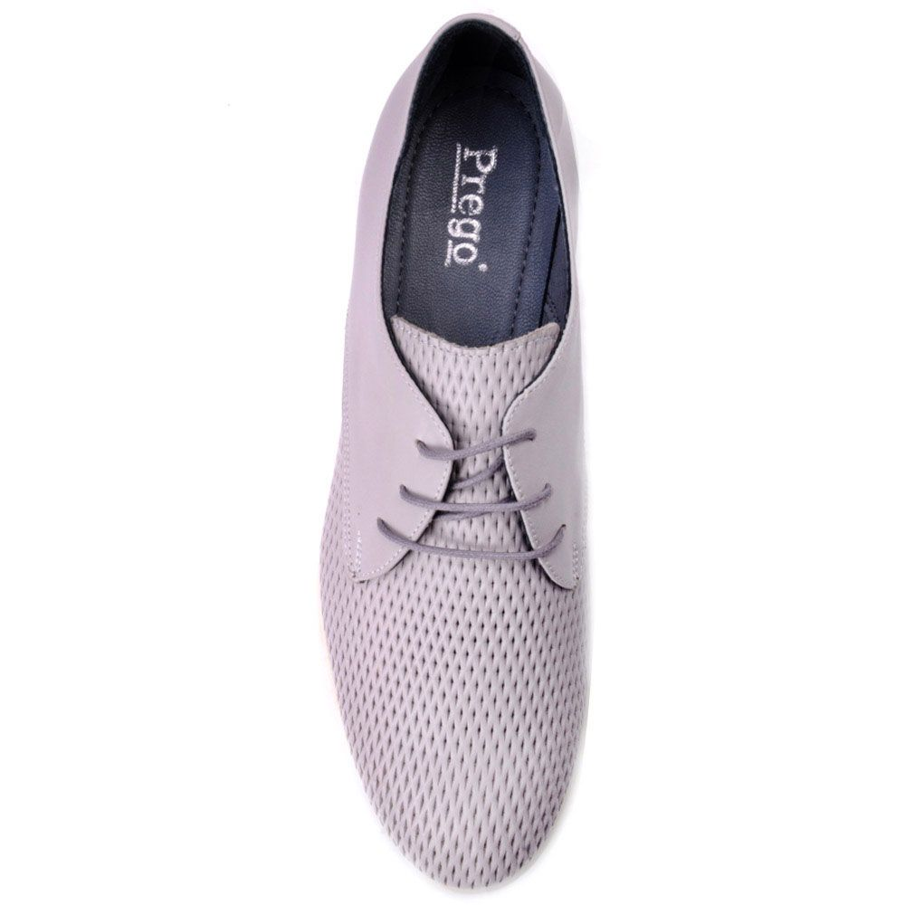 Туфли Prego из натуральной серой кожи с круглым носочком
