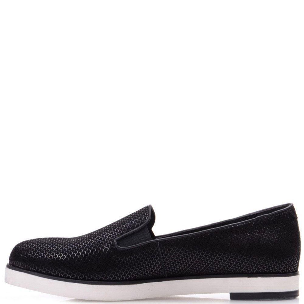 Туфли Prego из нубука черного цвета с чешуйчатым принтом