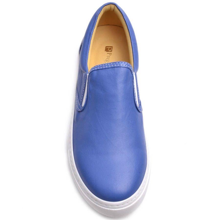Слипоны Prego женские кожаные синего цвета