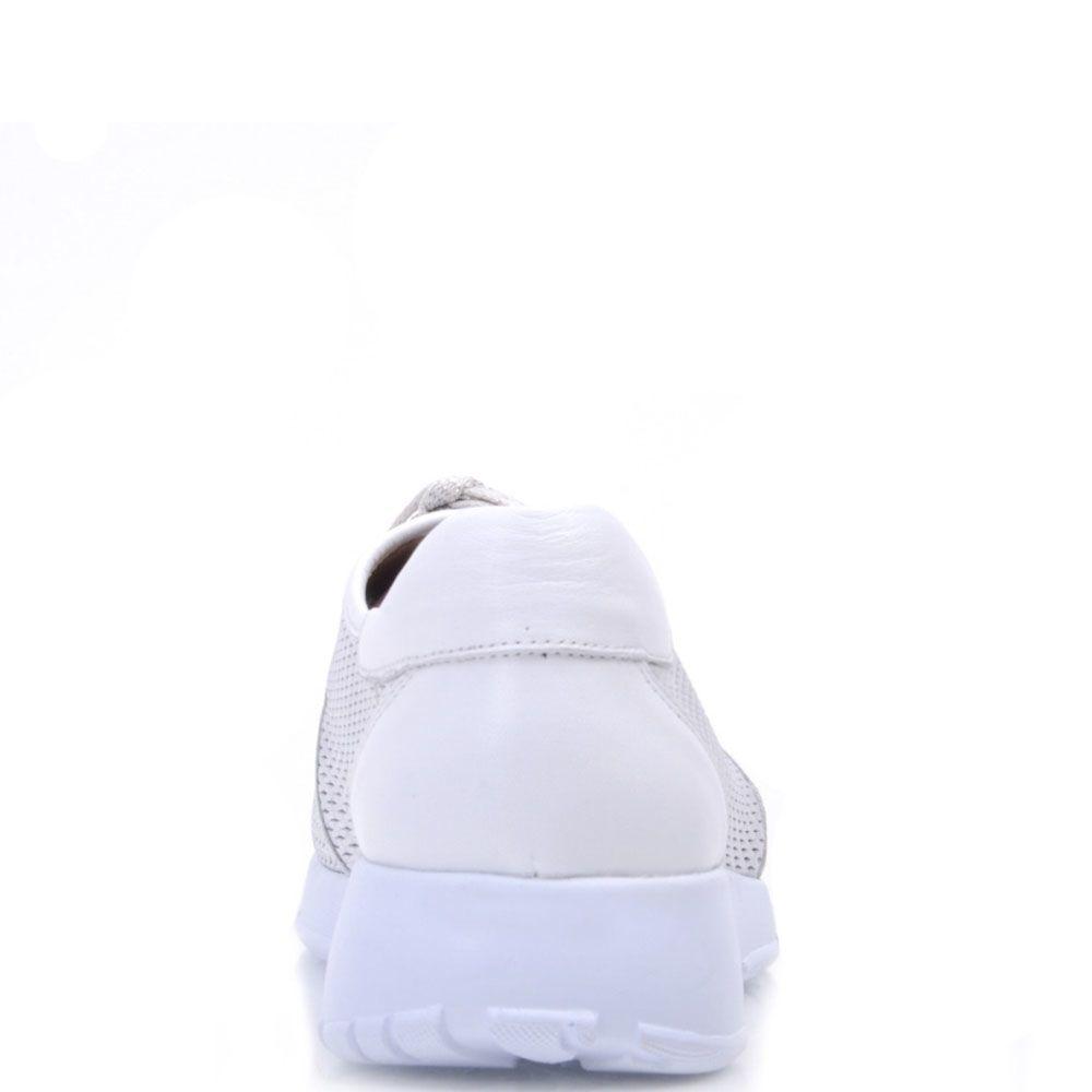 Кожаные кроссовки Prego серебристого цвета с мелкой перфорацией