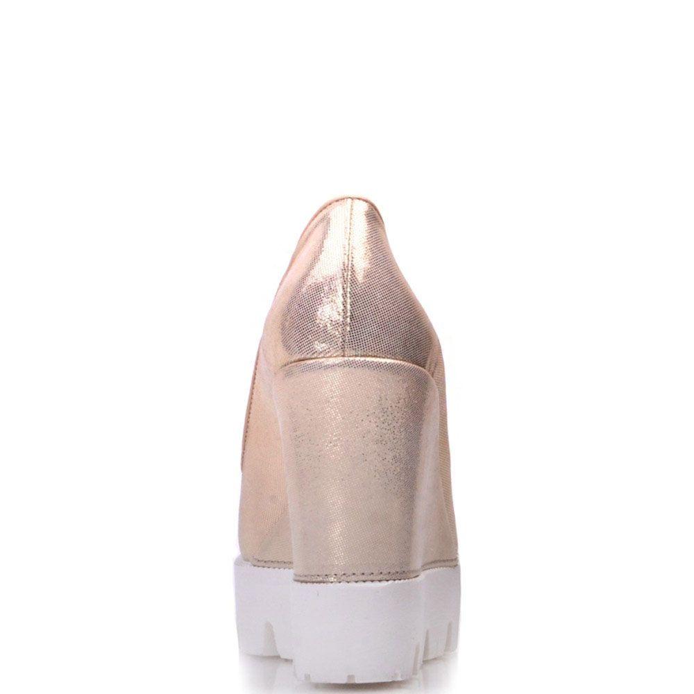 Туфли Prego из натуральной золотистой кожи на высокой танкетке
