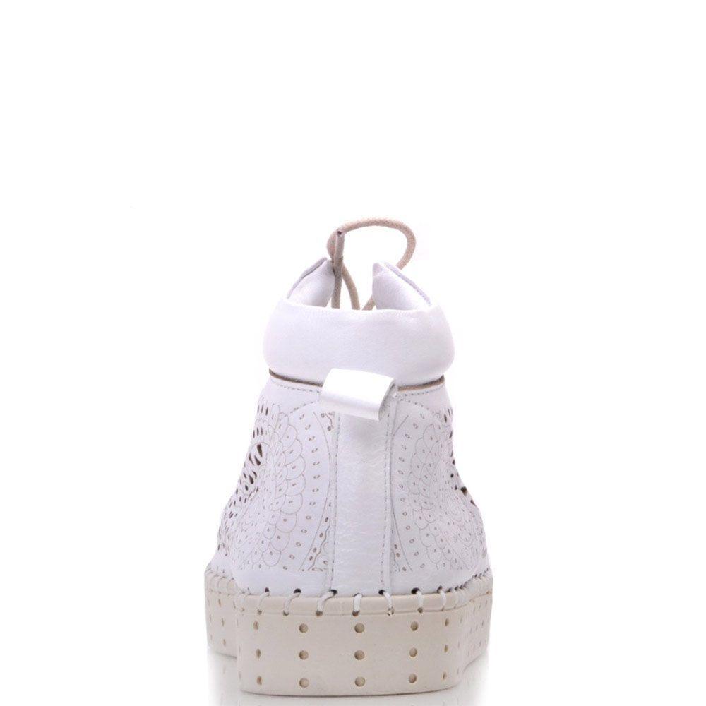Ботинки Prego из натуральной белой кожи с перфорацией