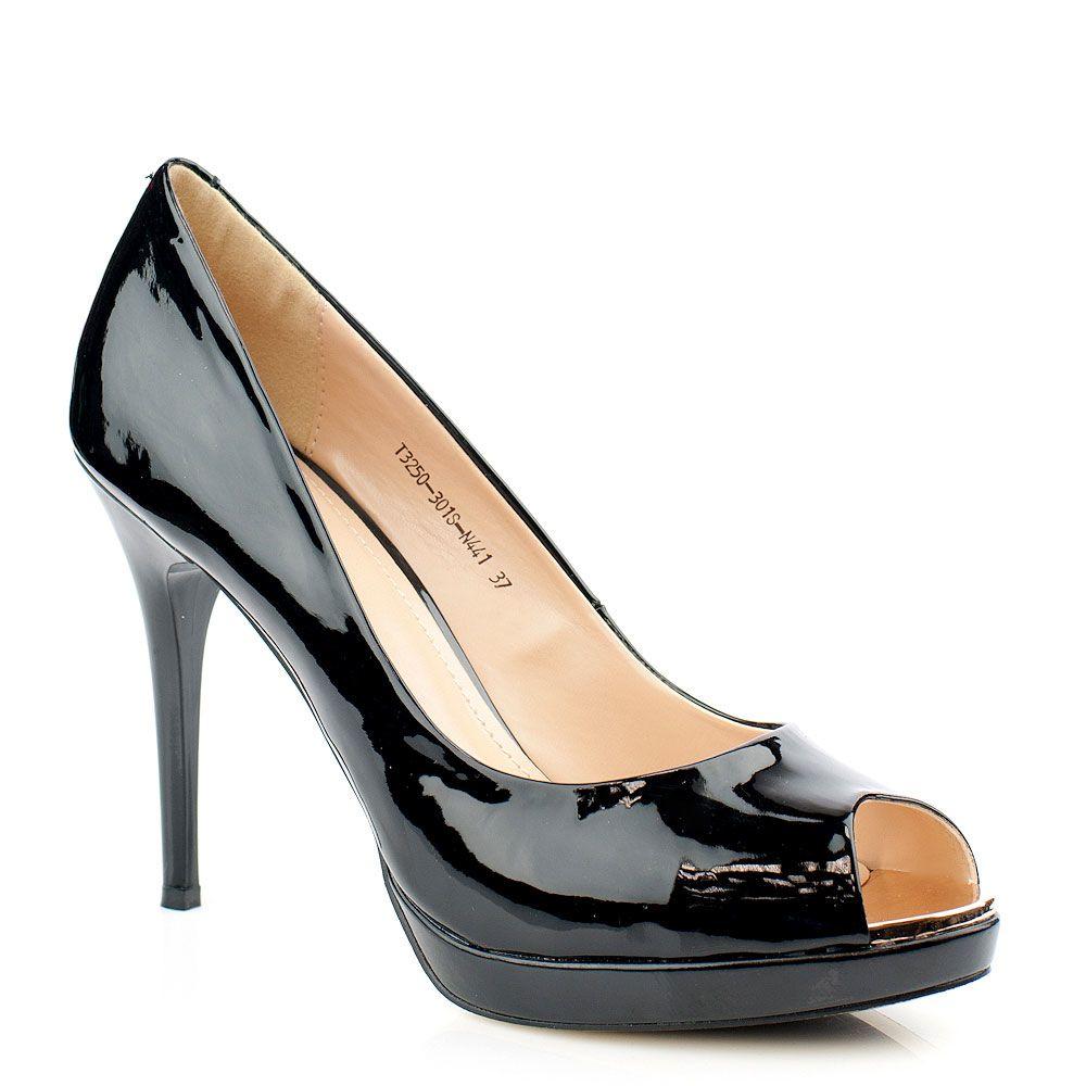 Туфли с открытым мысом It-girl глянцевые чёрные