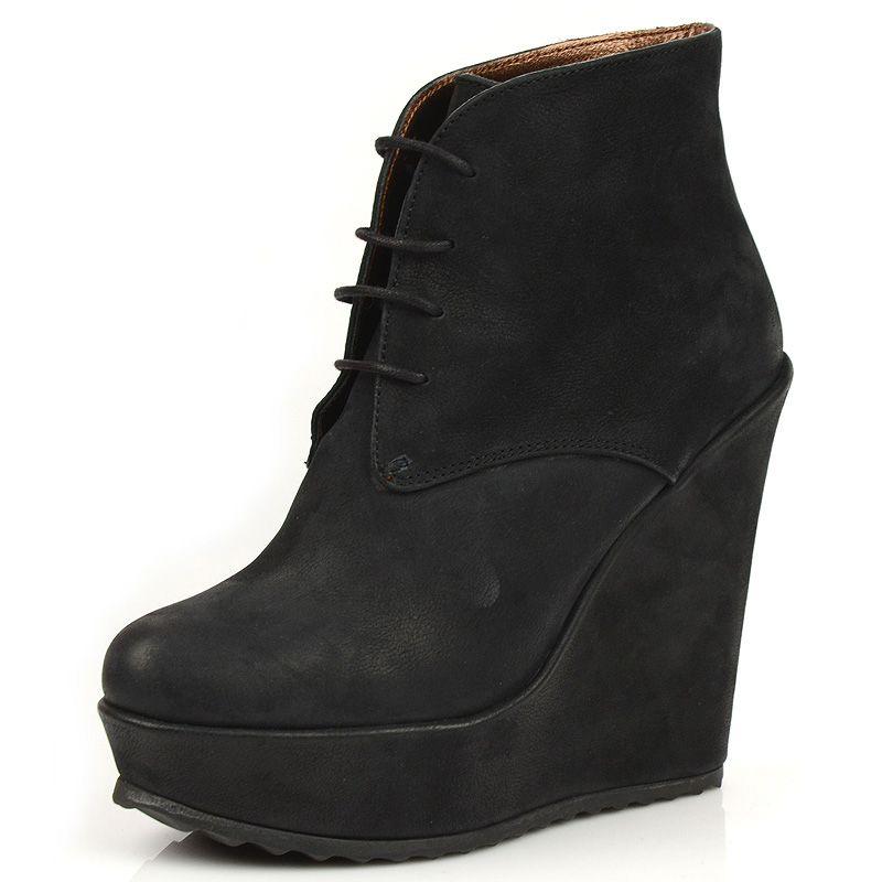 Черные кожаные ботинки Tosca Blu на платформе
