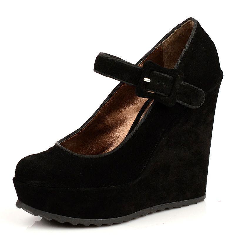 Черные замшевые туфли Tosca Blu на платформе