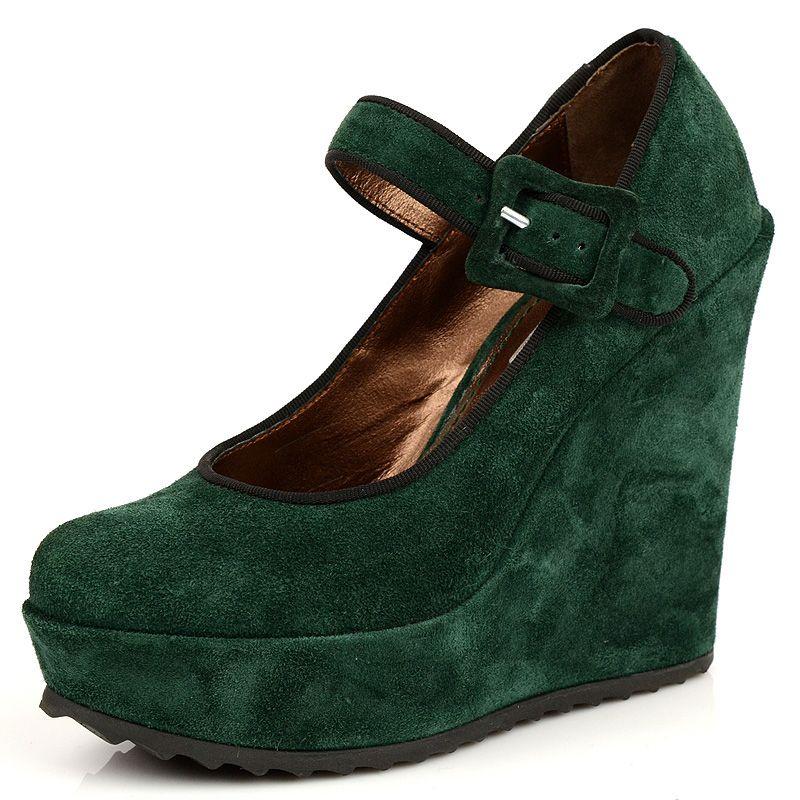 Зеленые замшевые туфли Tosca Blu на платформе