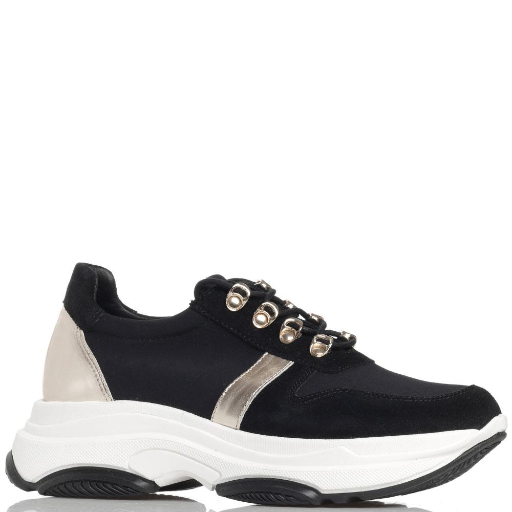 Черные кроссовки Tosca Blu Fusion с золотистыми вставками