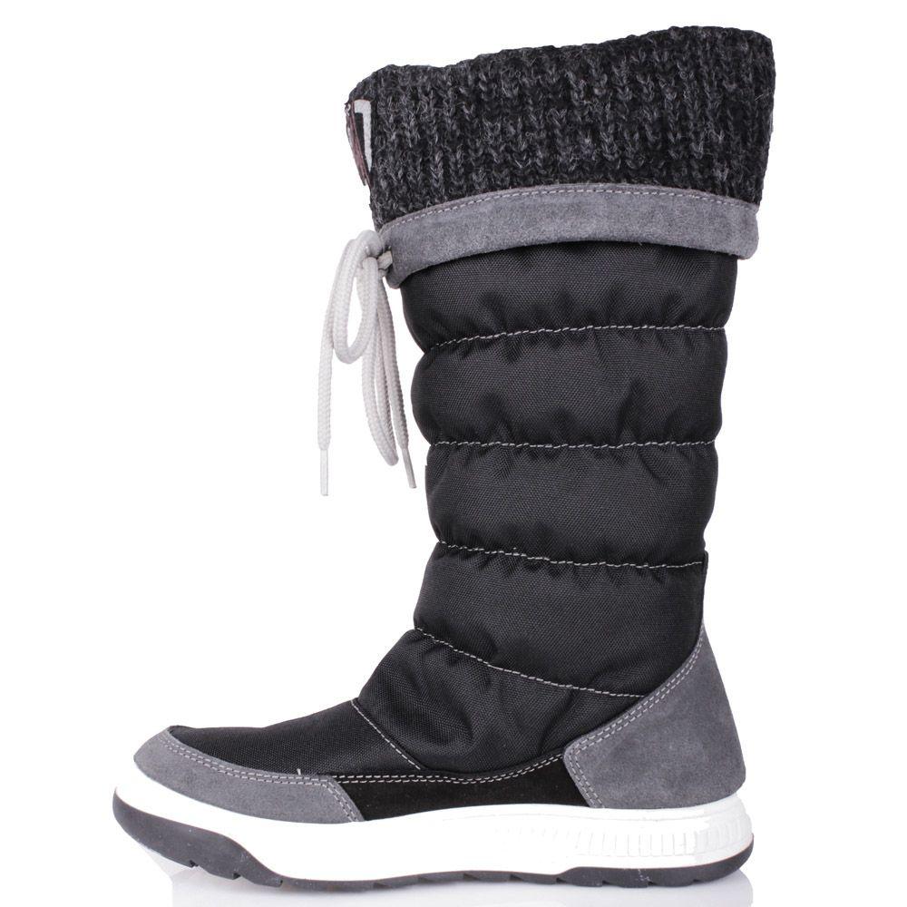 Сапоги-дутики Bressan черного цвета с вязаной вставкой на голенище