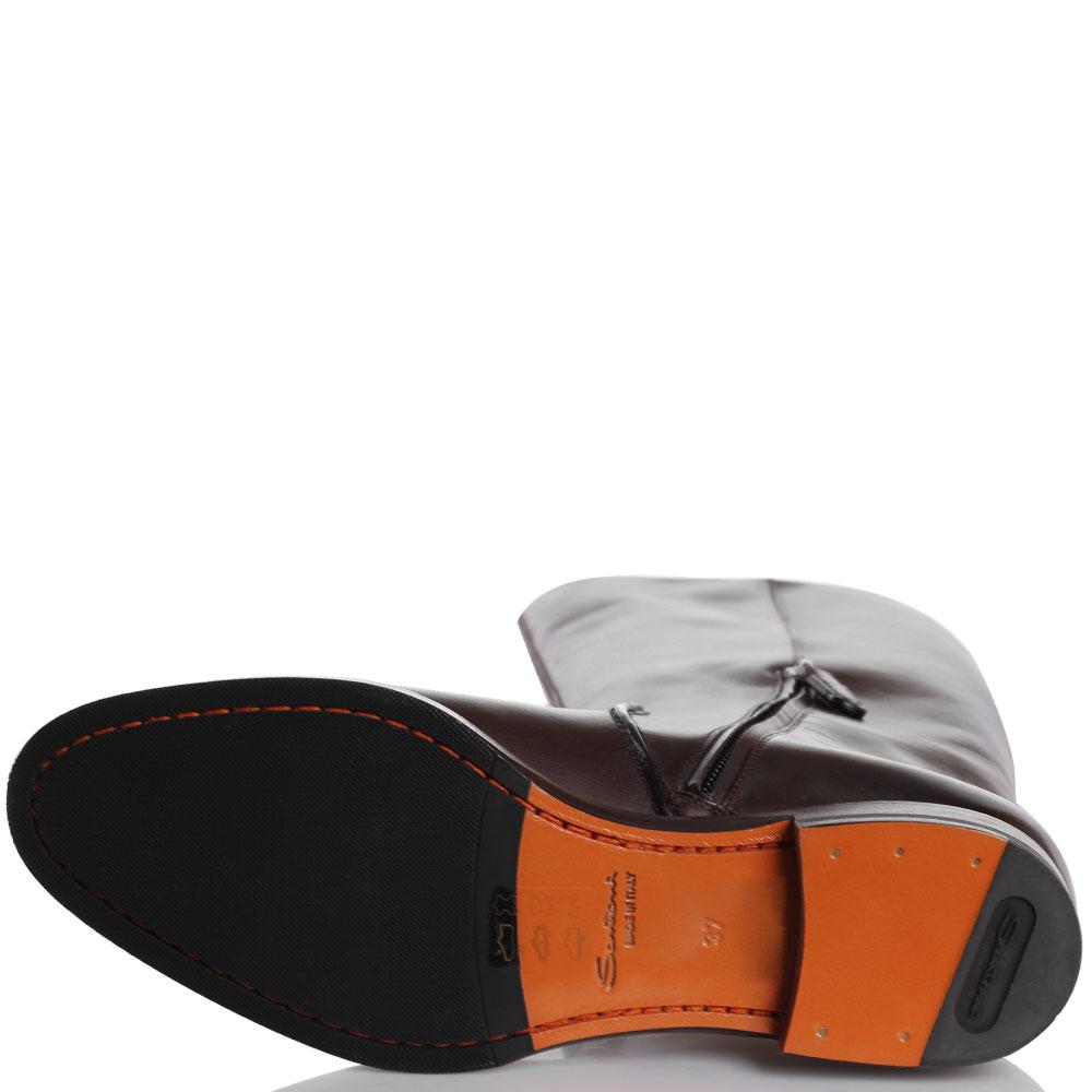 Кожаные коричневые сапоги Santoni на низком ходу