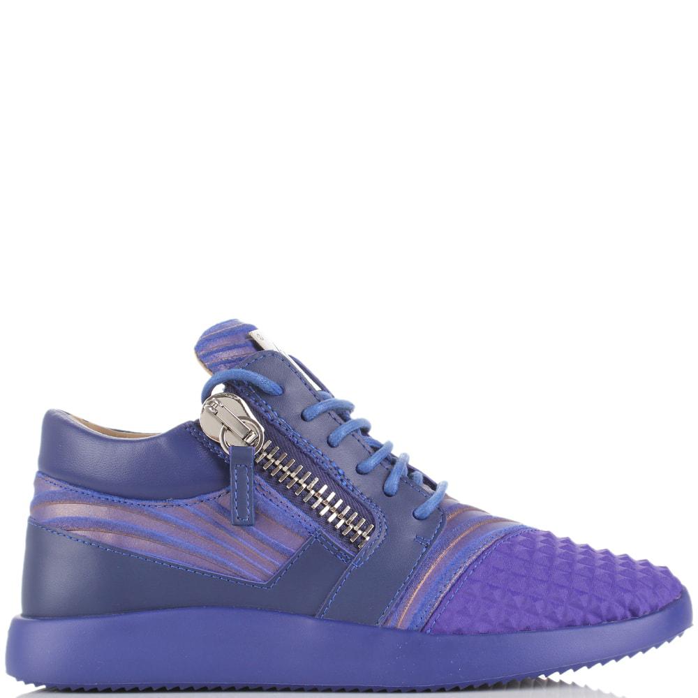 Синие кроссовки Giuseppe Zanotti с замочками