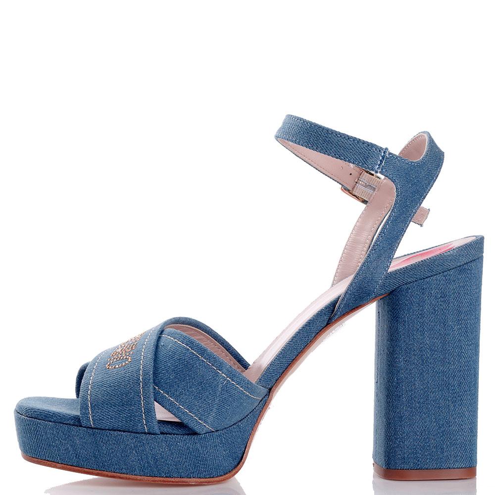 Синие босоножки Love Moschino на устойчивом каблуке