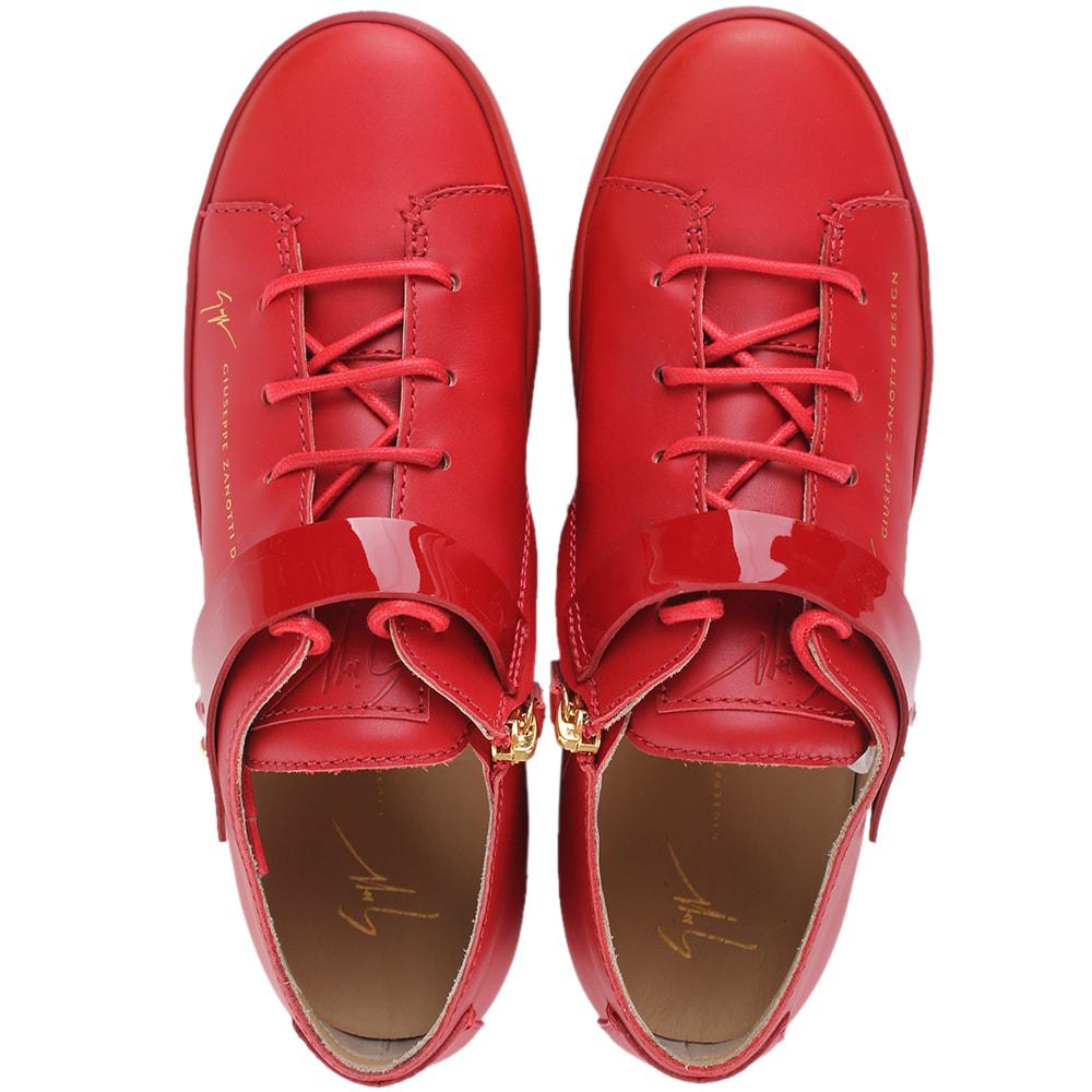 Красные кеды Giuseppe Zanotti с лаковым ремешком