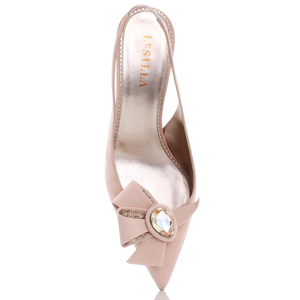 Бежевые туфли-лодочки Le Silla с бантом на носке