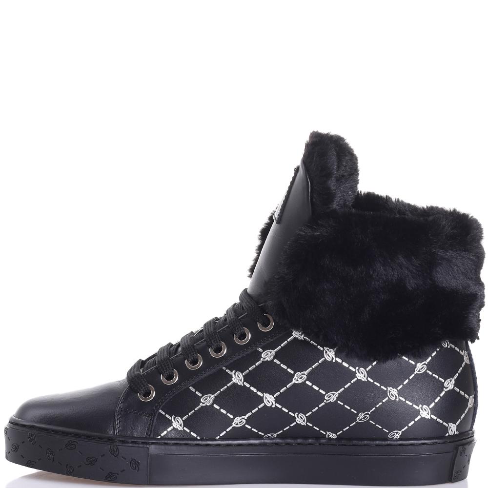Ботинки Blumarine черного цвета с принтом