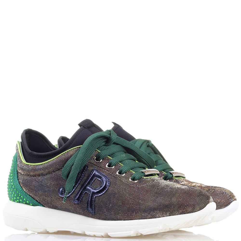 Кроссовки John Richmond с зеленой шнуровкой и пяточкой
