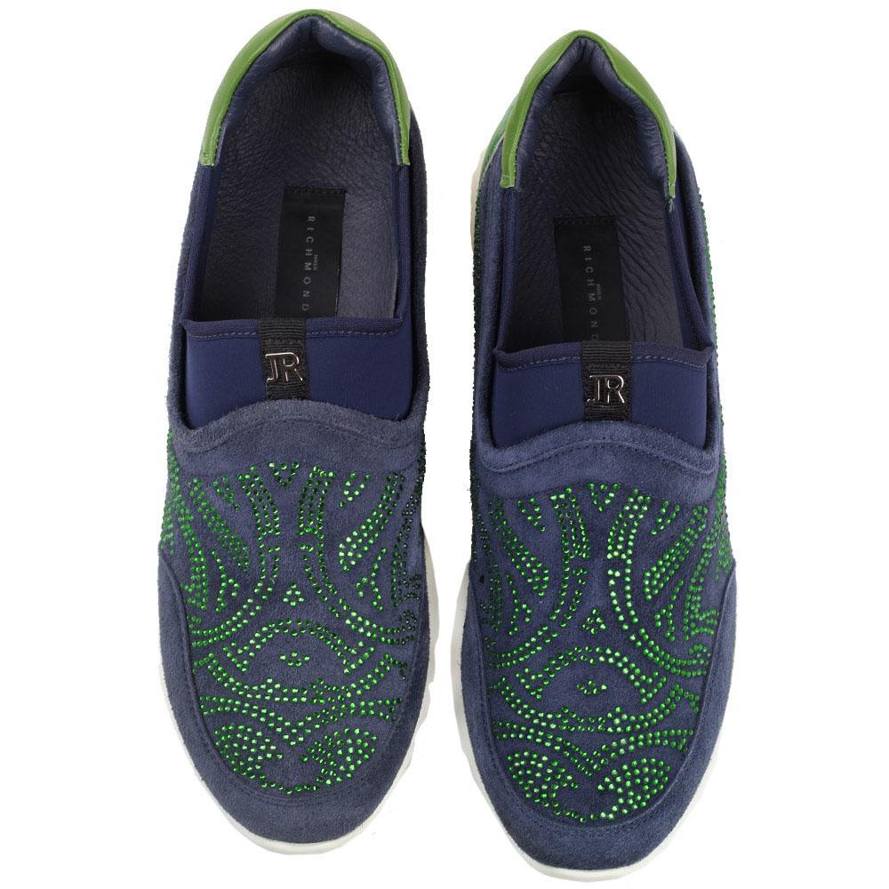 Синие кроссовки без шнуровки John Richmond декорированные стразами