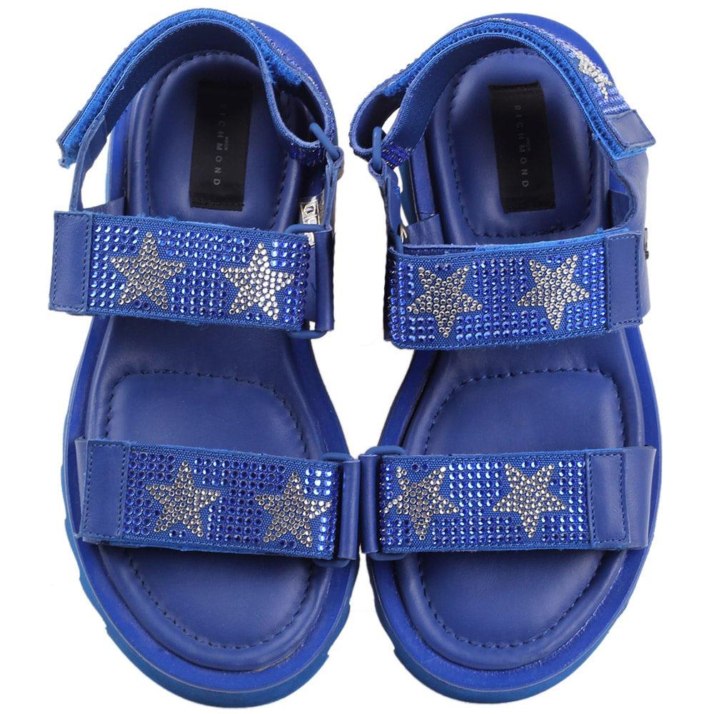 Босоножки на липучках John Richmond синего цвета