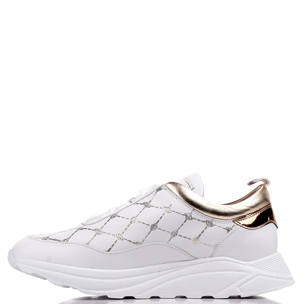 Кроссовки Blumarine белые с золотистыми вставками