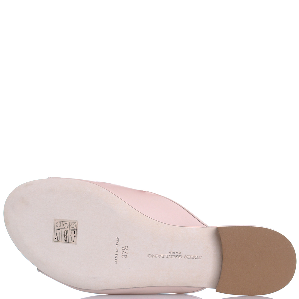 Шлепанцы John Galliano из гладкой кожи розового цвета