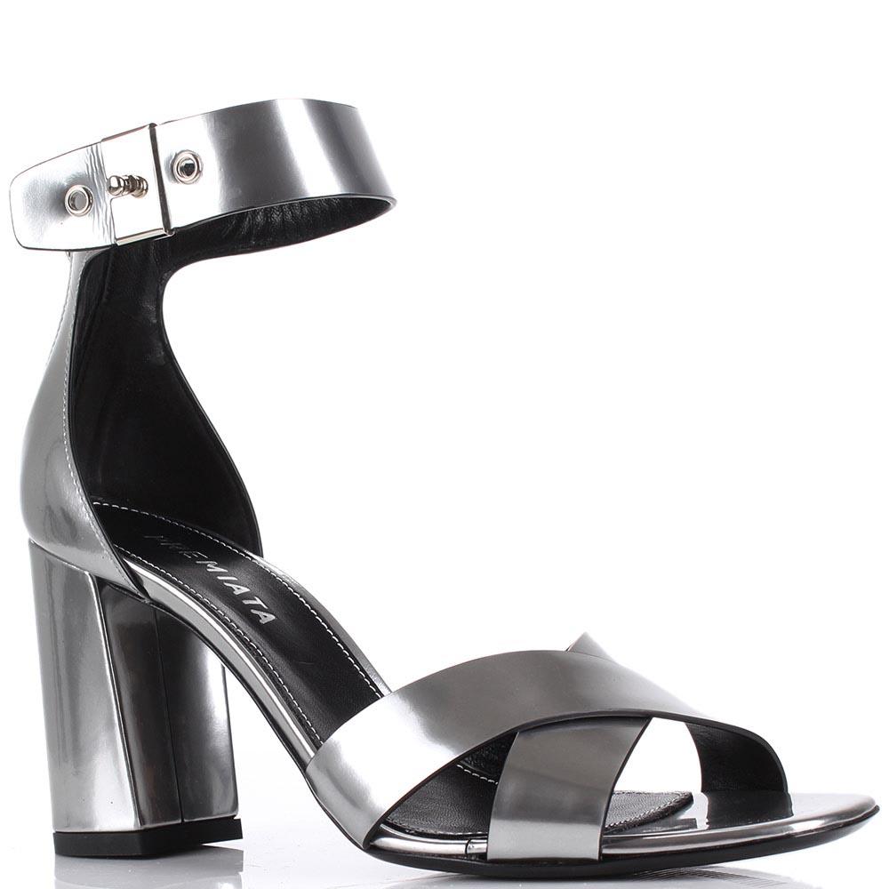 Серебристые босоножки Premiata на толстом каблуке