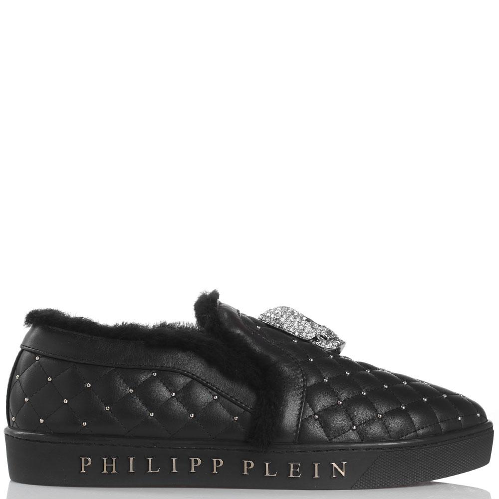 Стеганые утепленные слипоны черного цвета Philipp Plein с заклепками и черепом