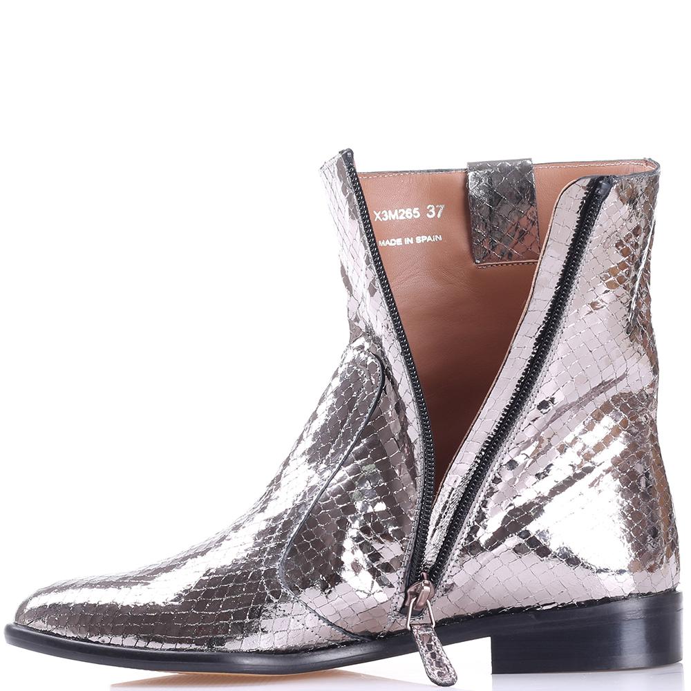 Ботинки Emporio Armani серебристого цвета на молнии