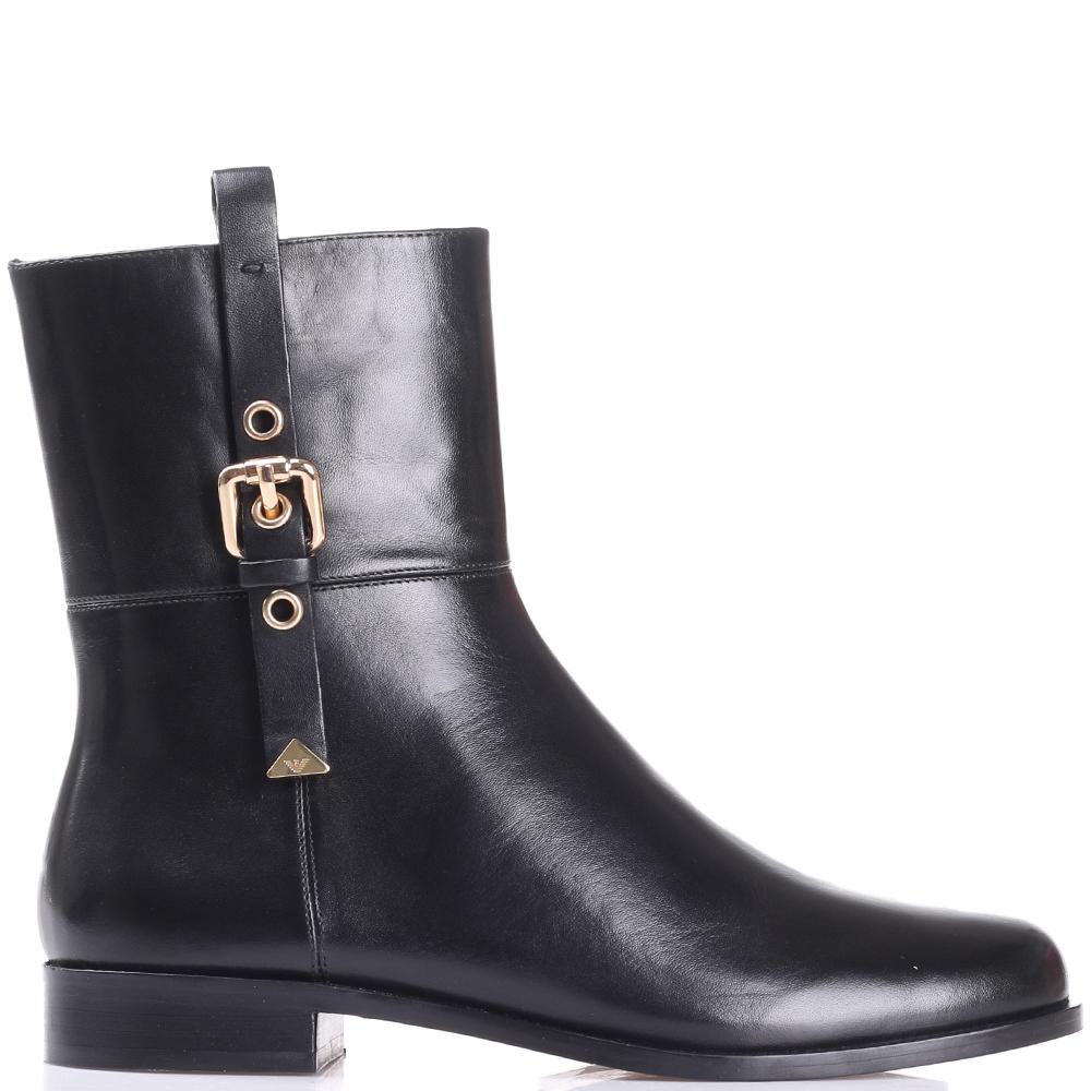 Ботинки Emporio Armani черного цвета с декором-ремешком