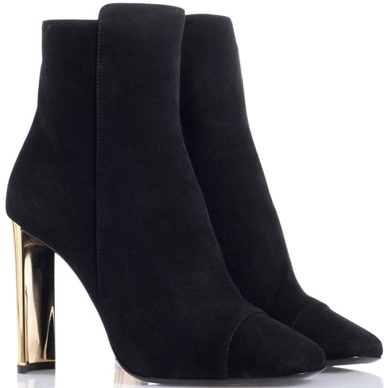 Черные замшевые ботинки Giuseppe Zanotti на высоком каблуке золотистого цвета