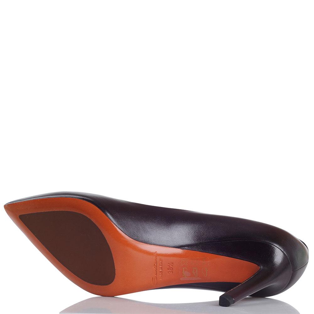 Кожаные лодочки Santoni коричневого цвета