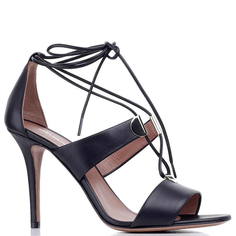 Черные босоножки Emporio Armani на шнуровке