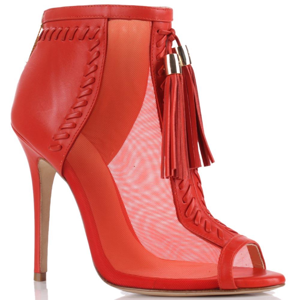 Босоножки Elisabetta Franchi красного цвета с кисточками