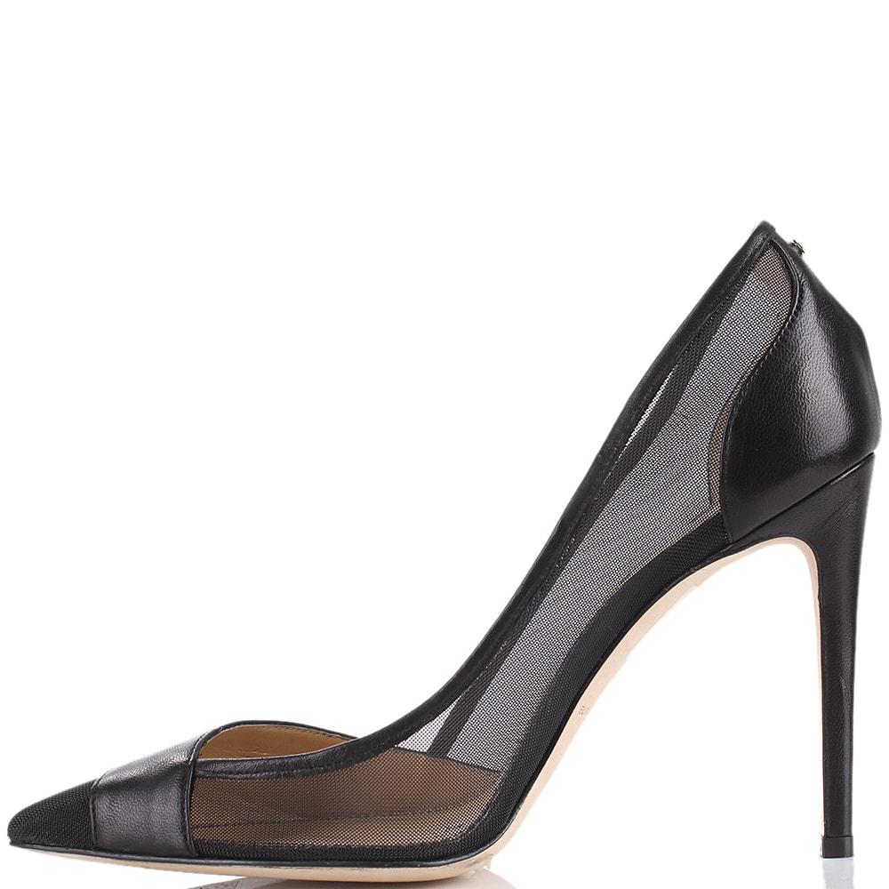 Черные туфли Elisabetta Franchi на высоком каблуке