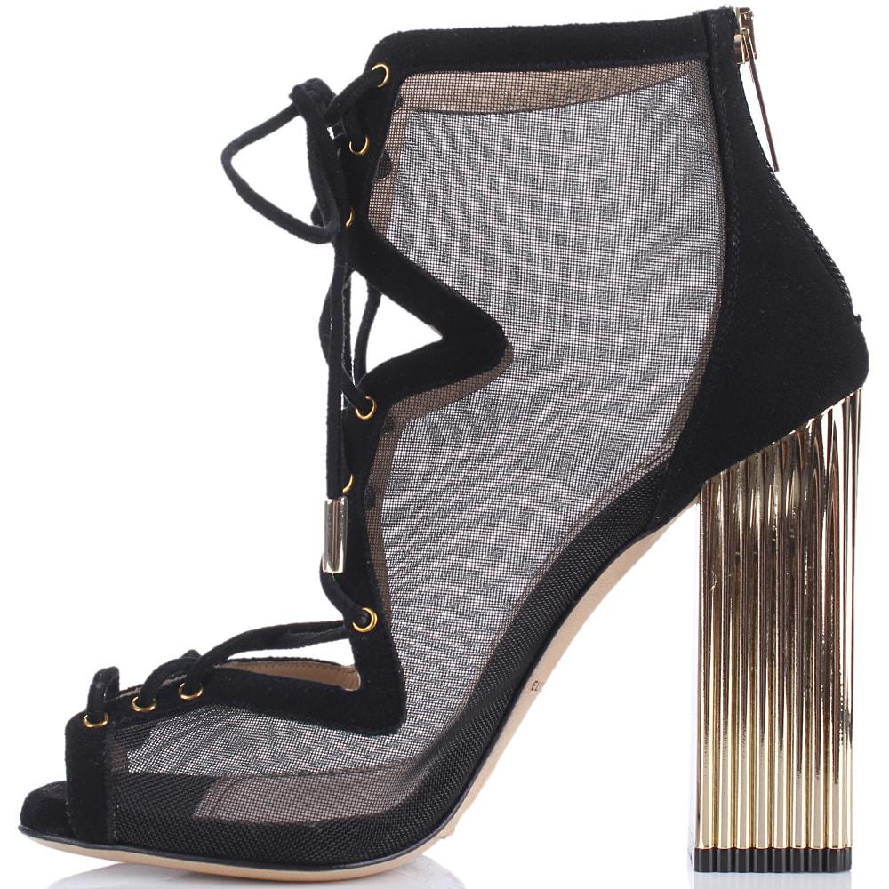 Босоножки со шнуровкой Elisabetta Franchi на золотистом каблуке