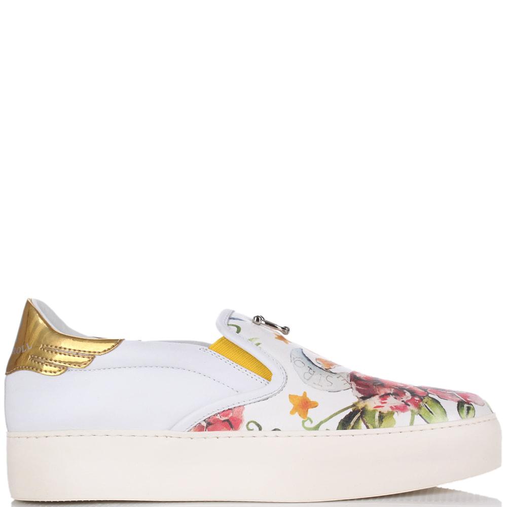 Белые слипоны Richmond с флористическим принтом