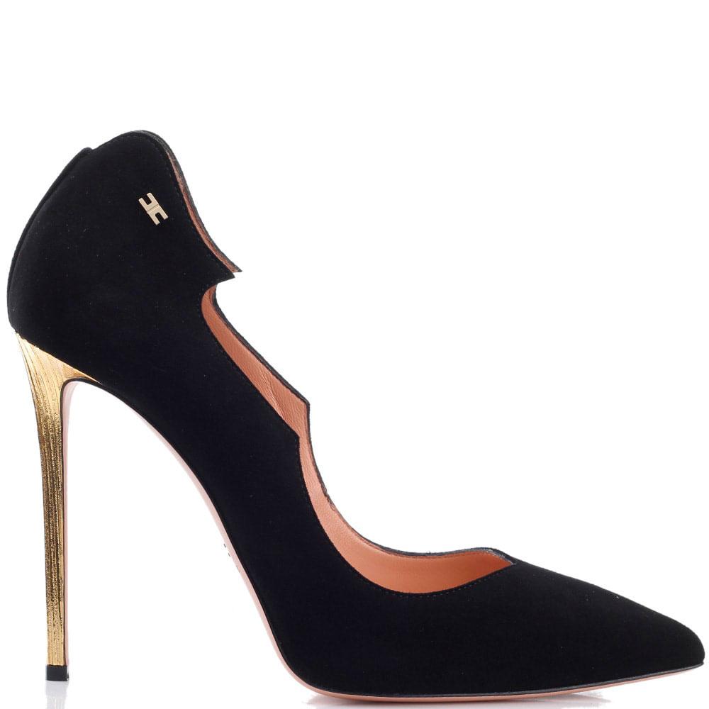 Замшевые черные туфли Elisabetta Franchi на высоком каблуке золотистого цвета