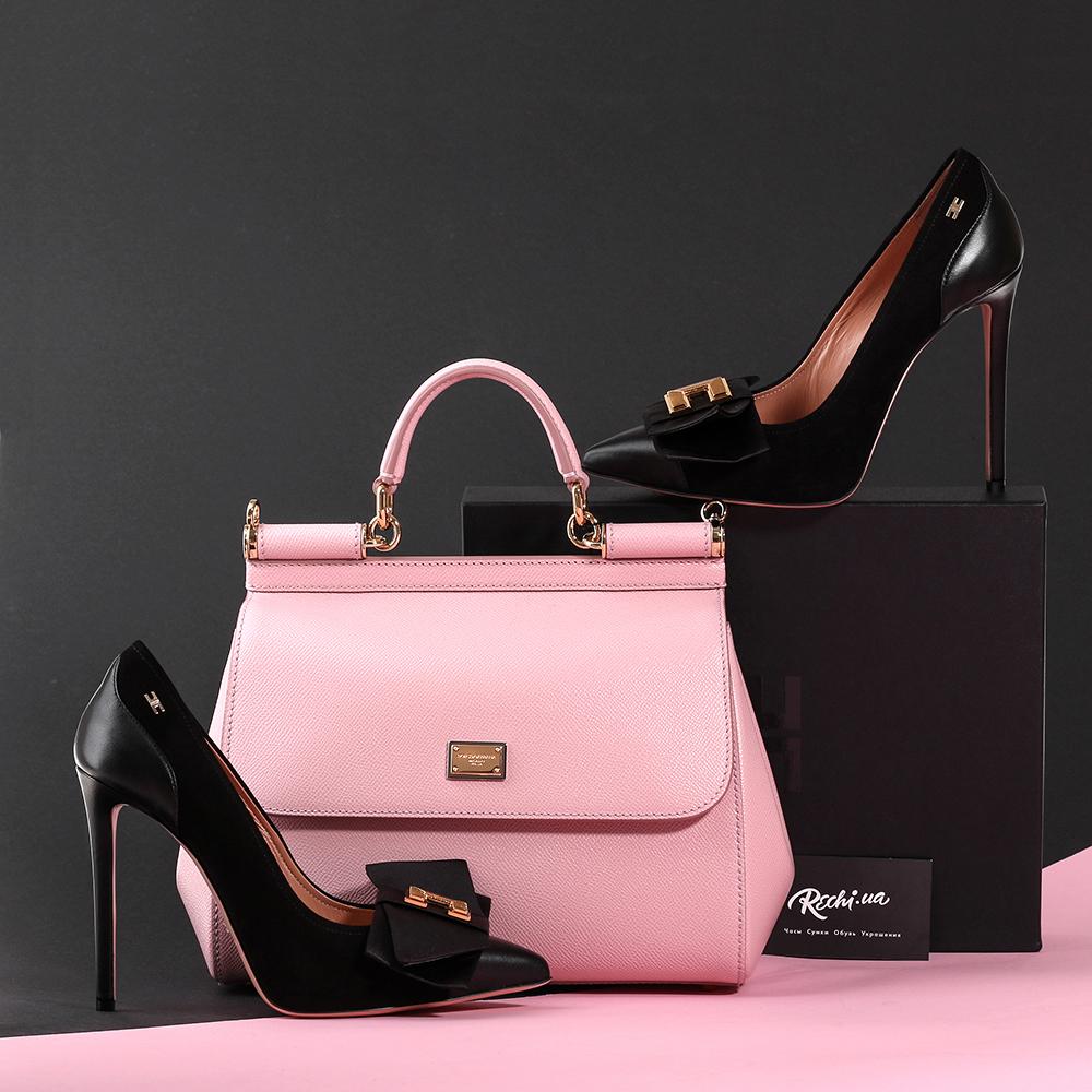 Черные туфли-лодочки Elisabetta Franchi с декором-бантом