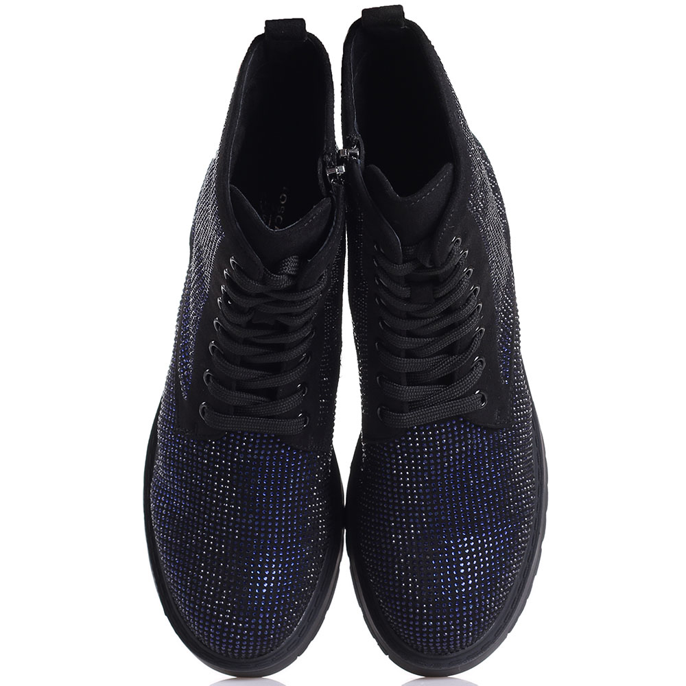 Черные ботинки Tosca Blu со стразами синего цвета