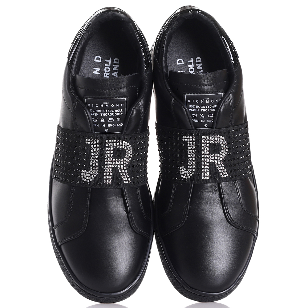 Черные слипоны John Richmond с декором-стразами