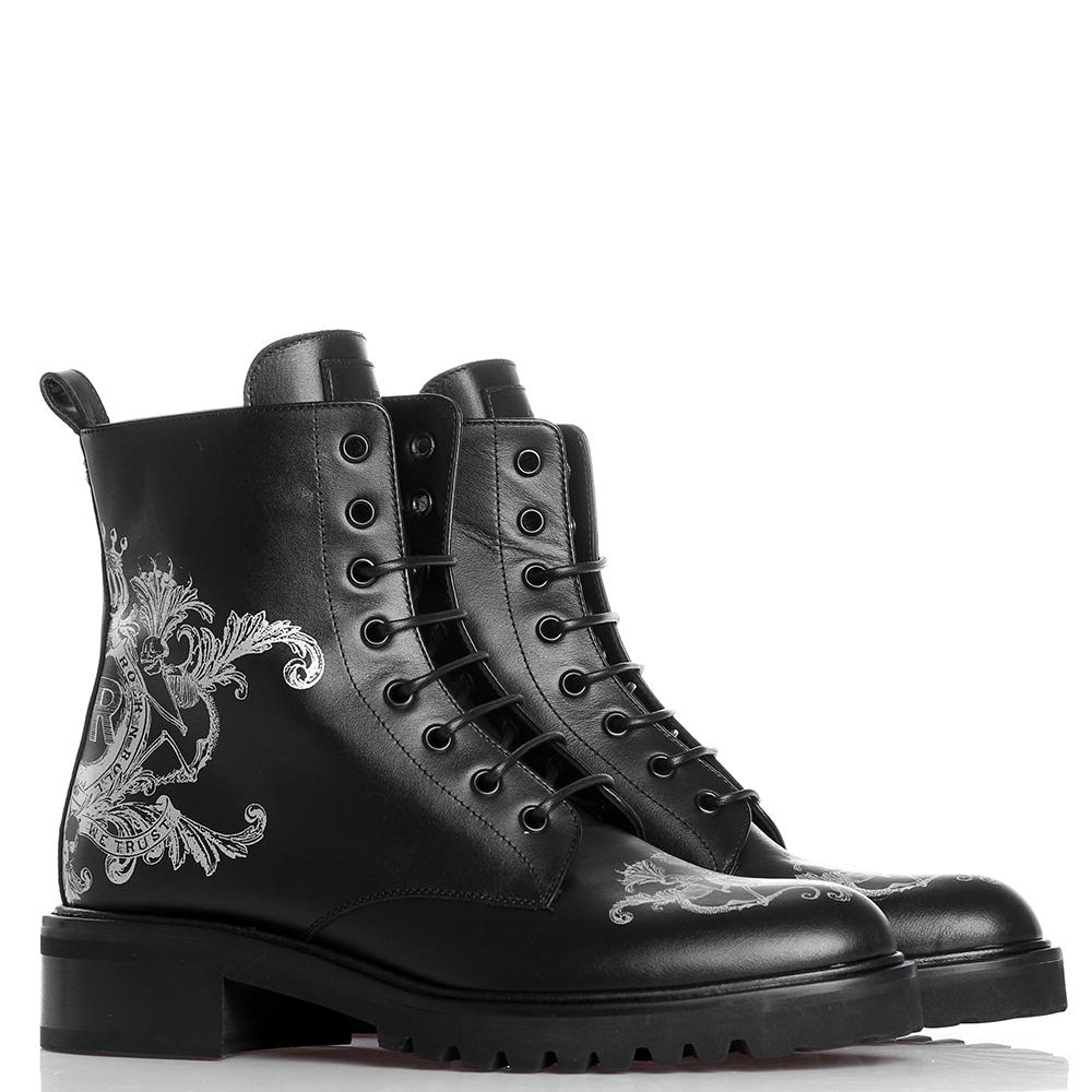 Ботинки John Richmond черного цвета с принтом