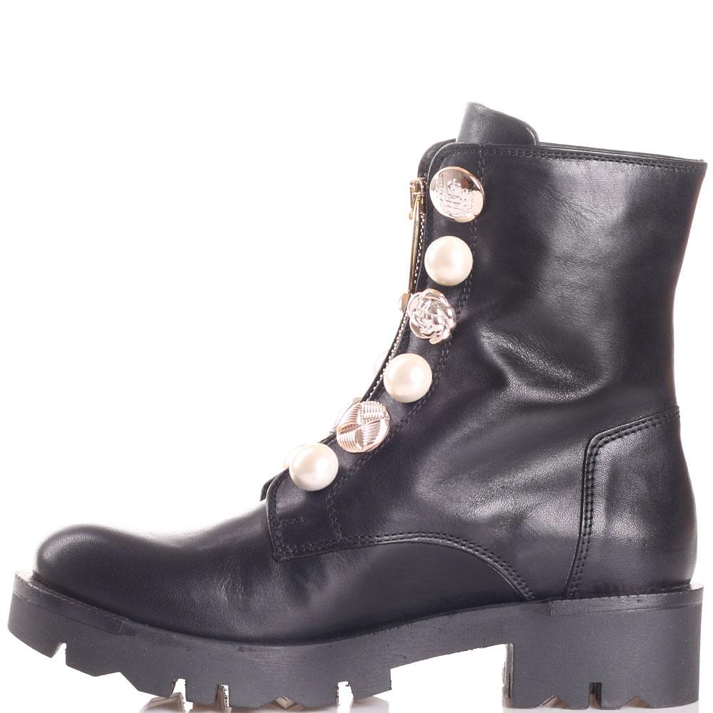 Ботинки Tosca Blu из гладкой черной кожи с декором из пуговиц и бусин