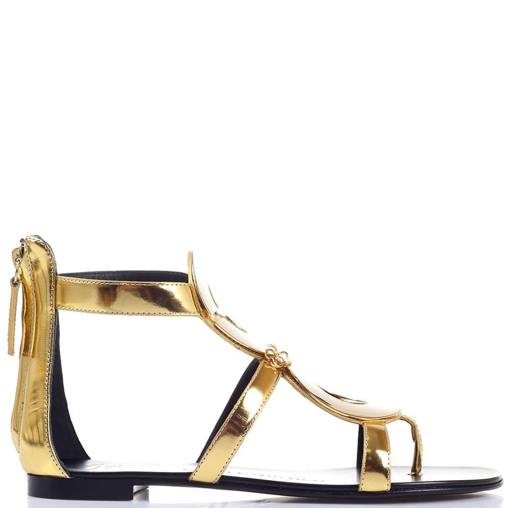 Золотистые сандалии Giuseppe Zanotti с декором в виде колец