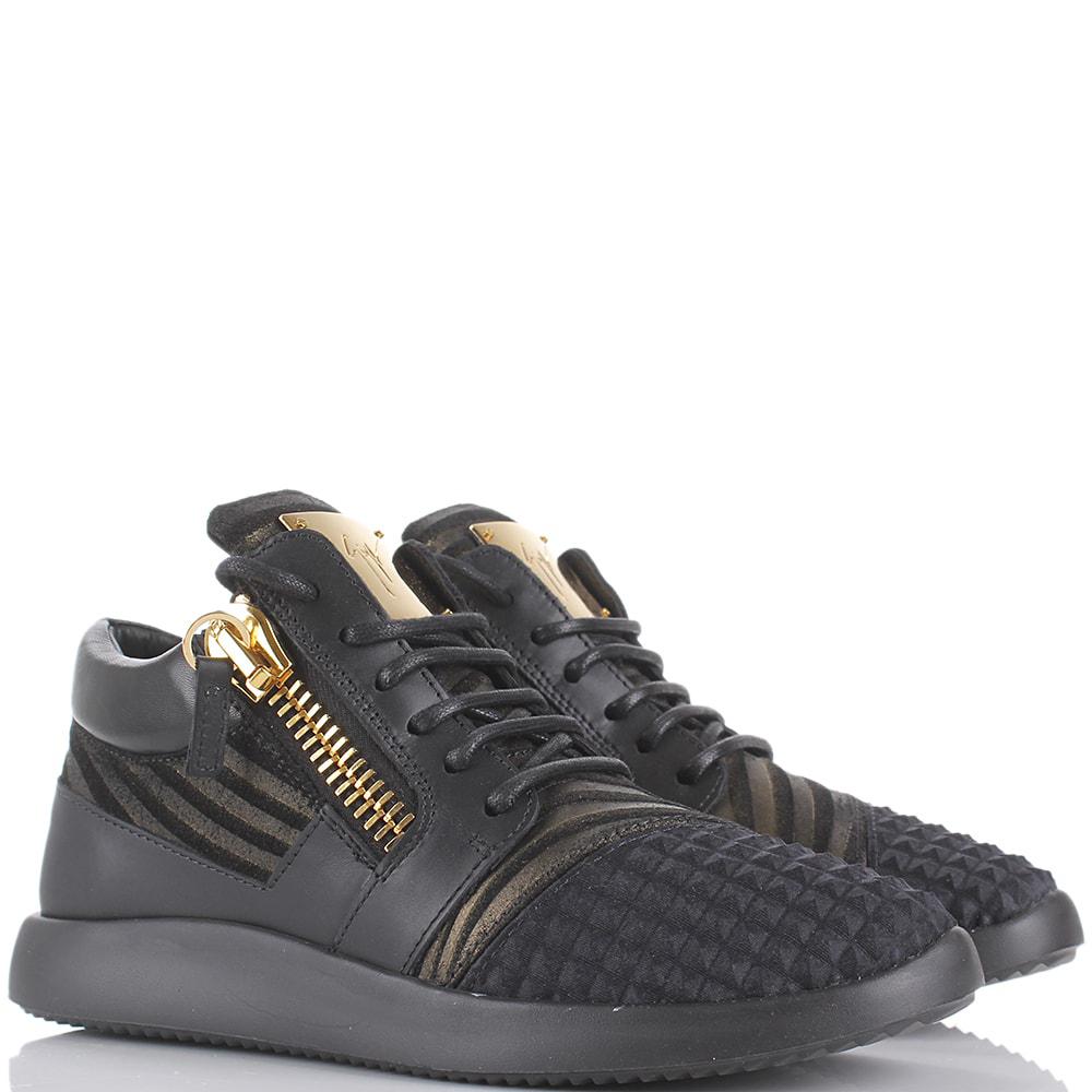 Черные кроссовки Giuseppe Zanotti с замочками