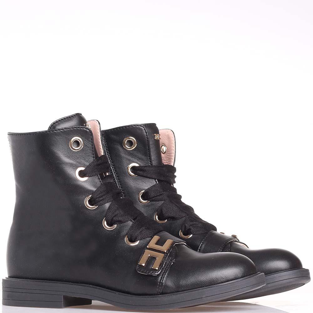 Ботинки Elisabetta Franchi черного цвета с широкими шнурками