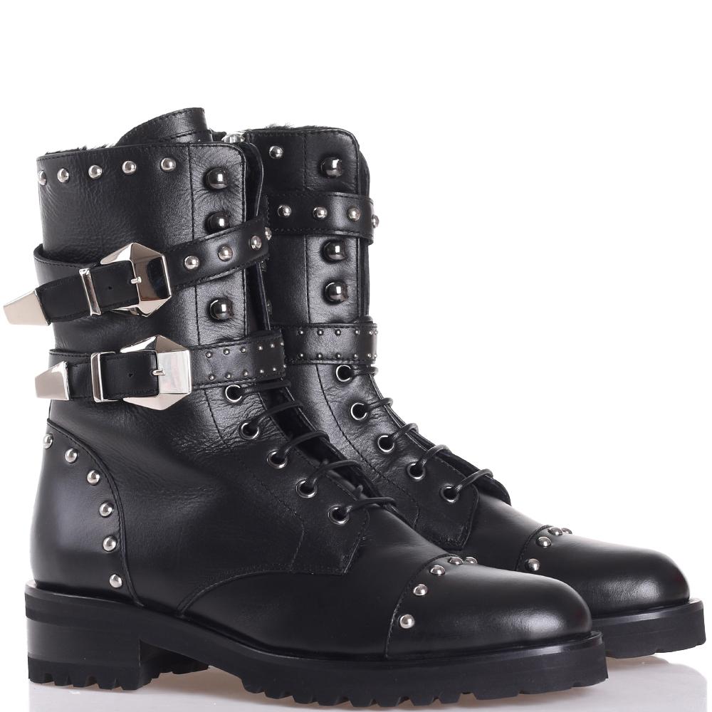Ботинки Frankie Morello черного цвета с декором-заклепками