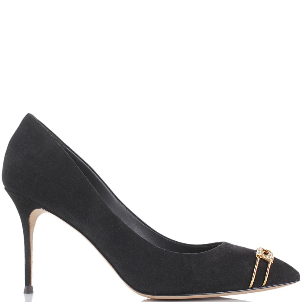 Черные замшевые туфли Giuseppe Zanotti с золотистым декором в виде булавки