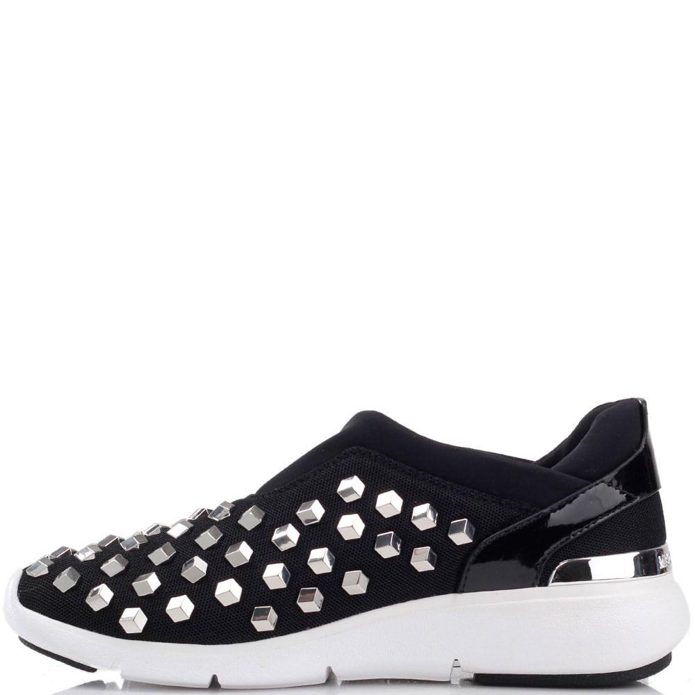 Текстильные кроссовки Michael Kors без шнуровки с металлическим декором