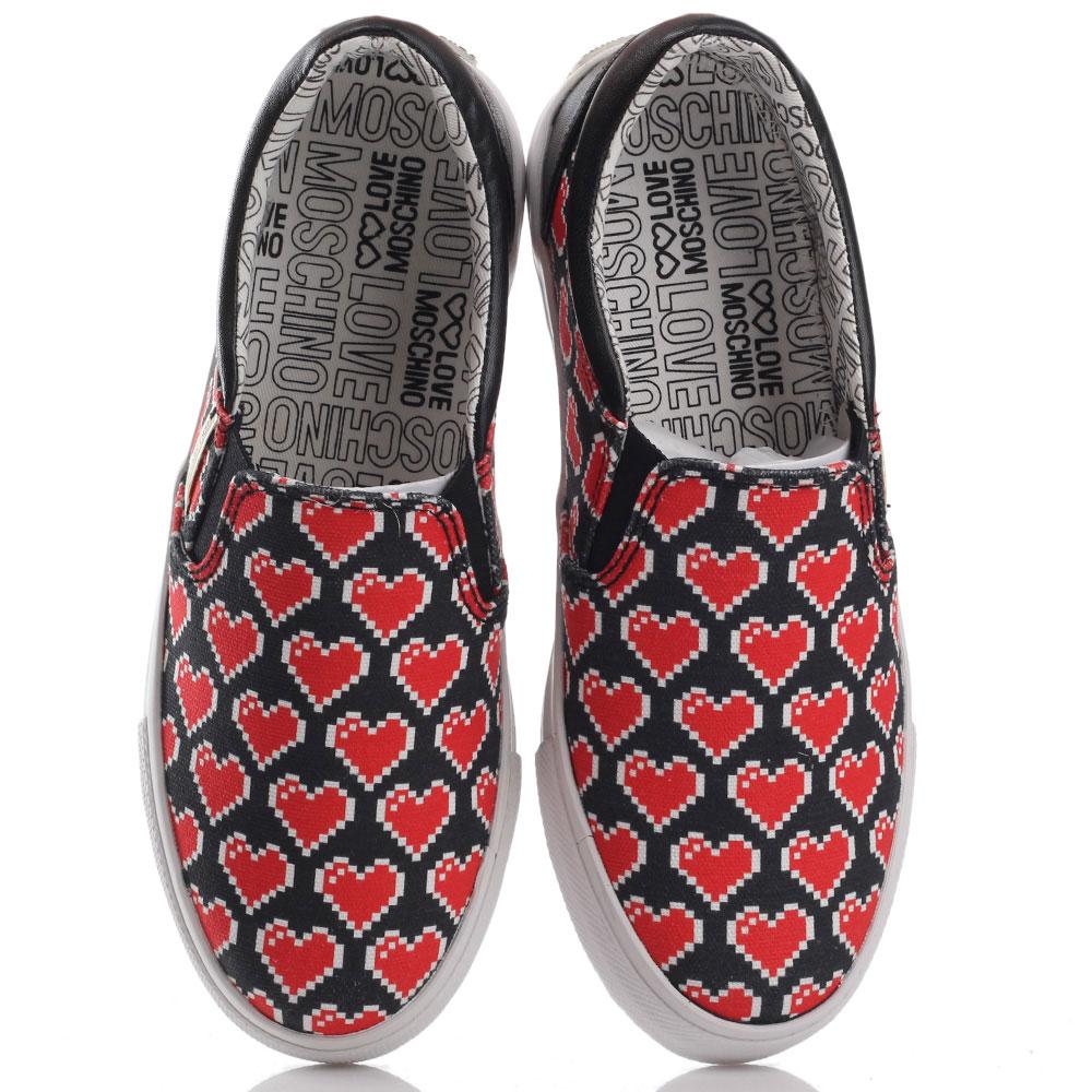 Слипоны Love Moschino с принтом в виде сердец